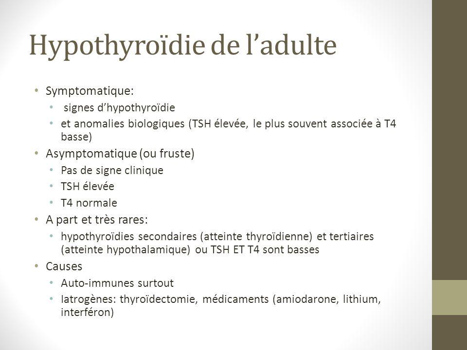 Hypothyroïdie de ladulte Symptomatique: signes dhypothyroïdie et anomalies biologiques (TSH élevée, le plus souvent associée à T4 basse) Asymptomatique (ou fruste) Pas de signe clinique TSH élevée T4 normale A part et très rares: hypothyroïdies secondaires (atteinte thyroïdienne) et tertiaires (atteinte hypothalamique) ou TSH ET T4 sont basses Causes Auto-immunes surtout Iatrogènes: thyroïdectomie, médicaments (amiodarone, lithium, interféron)