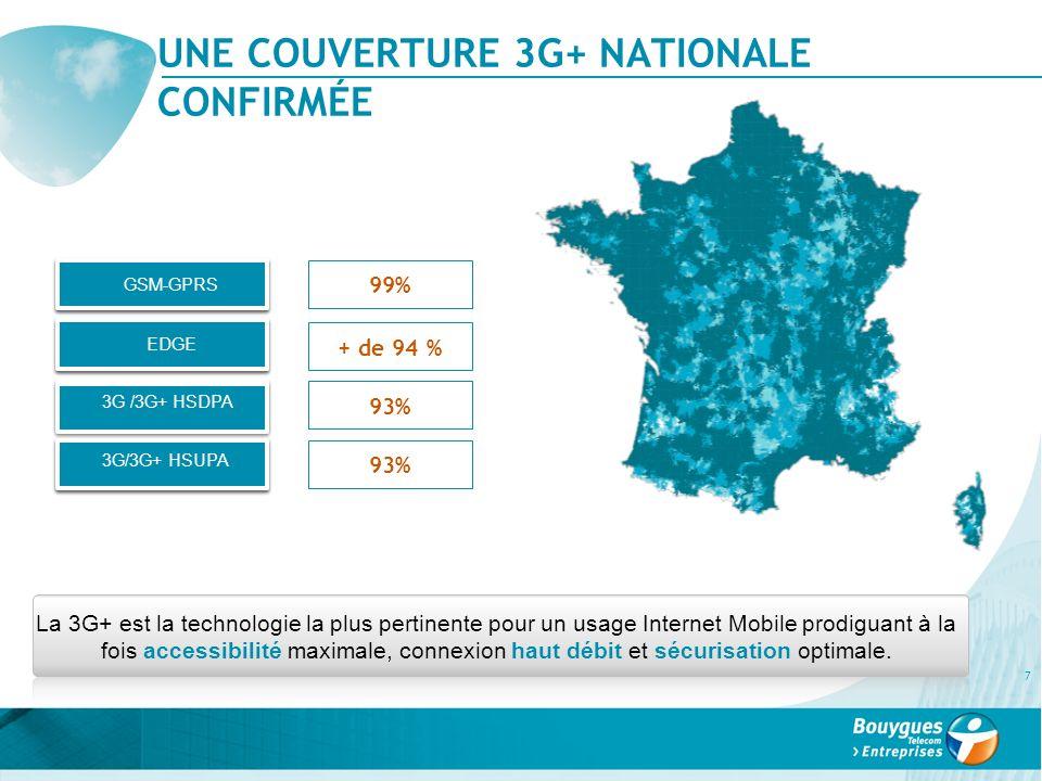 UNE COUVERTURE 3G+ NATIONALE CONFIRMÉE 7 99% GSM-GPRS EDGE 3G /3G+ HSDPA 3G/3G+ HSUPA + de 94 % 93% La 3G+ est la technologie la plus pertinente pour