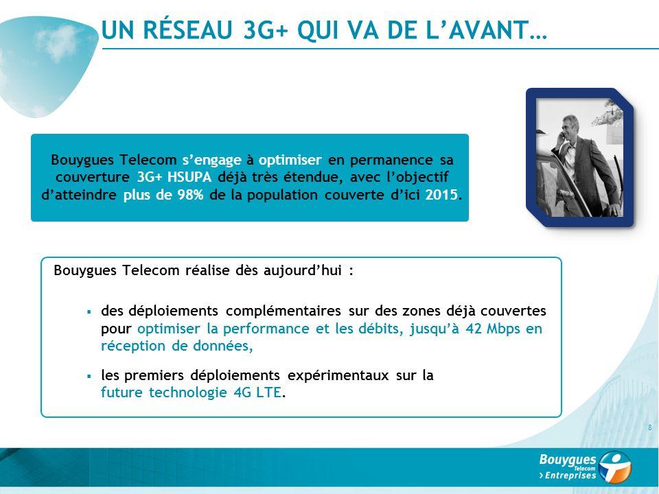 UN RÉSEAU 3G+ QUI VA DE LAVANT… 8 Bouygues Telecom réalise dès aujourdhui : des déploiements complémentaires sur des zones déjà couvertes pour optimis