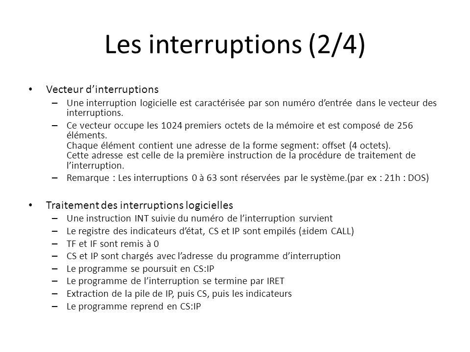 Les interruptions (3/4) Traitement des interruptions matérielles – Idem interruptions logicielles, mais linstruction en cours est terminée avant exécution de linterruption.