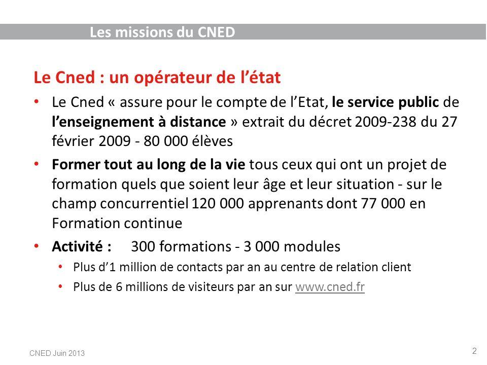 Les missions du CNED Le Cned : un opérateur de létat Le Cned « assure pour le compte de lEtat, le service public de lenseignement à distance » extrait