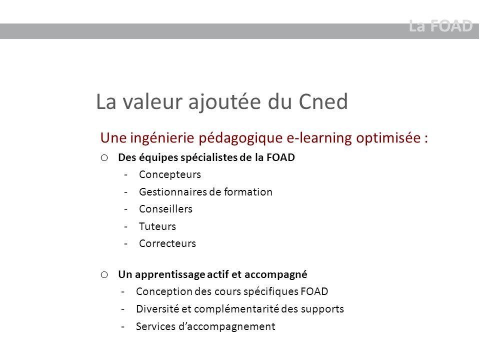 La valeur ajoutée du Cned La FOAD Une ingénierie pédagogique e-learning optimisée : o Des équipes spécialistes de la FOAD -Concepteurs -Gestionnaires