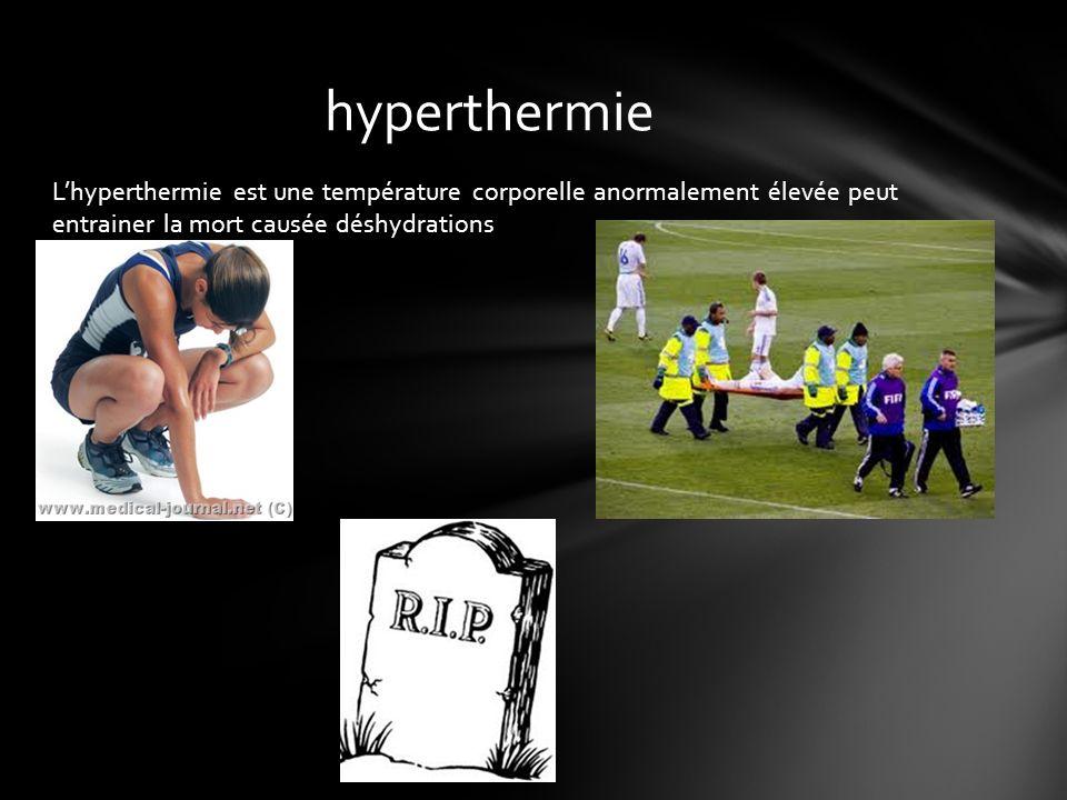 Lhyperthermie est une température corporelle anormalement élevée peut entrainer la mort causée déshydrations hyperthermie