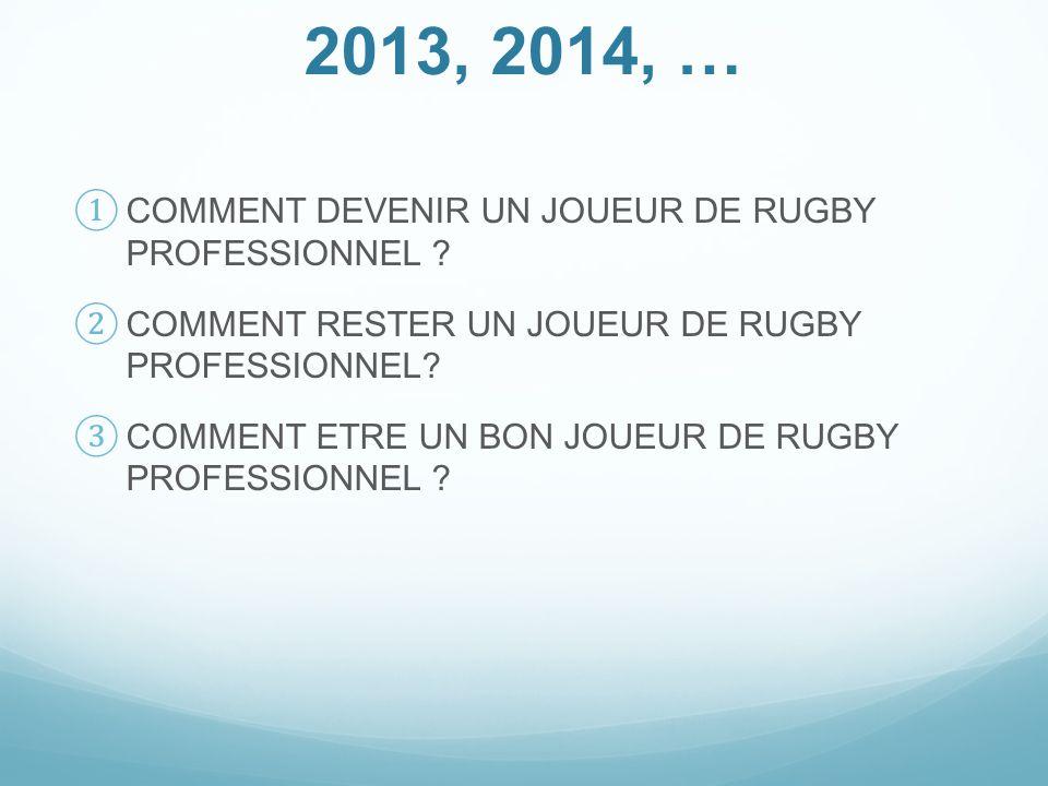 2013, 2014, … COMMENT DEVENIR UN JOUEUR DE RUGBY PROFESSIONNEL .