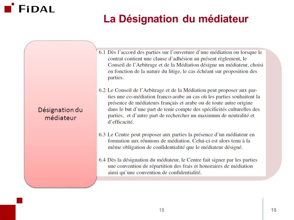 15 La Désignation du médiateur Désignation du médiateur 15