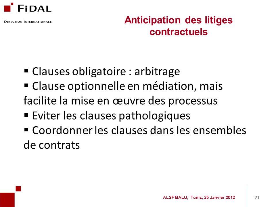 Clauses obligatoire : arbitrage Clause optionnelle en médiation, mais facilite la mise en œuvre des processus Eviter les clauses pathologiques Coordon