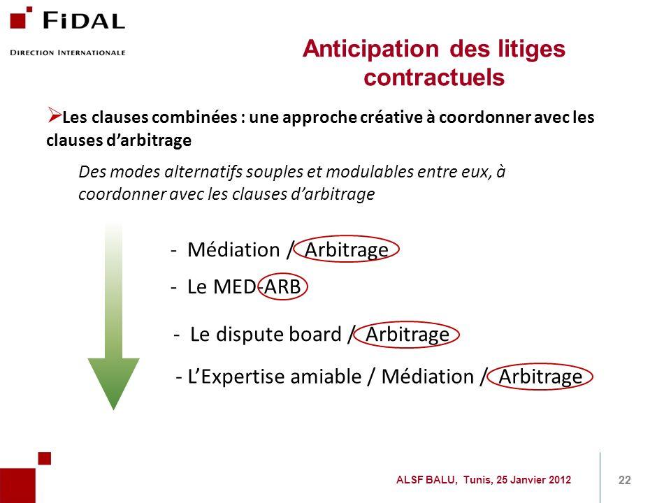 22 - Médiation / Arbitrage - Le MED-ARB - Le dispute board / Arbitrage - LExpertise amiable / Médiation / Arbitrage Les clauses combinées : une approc