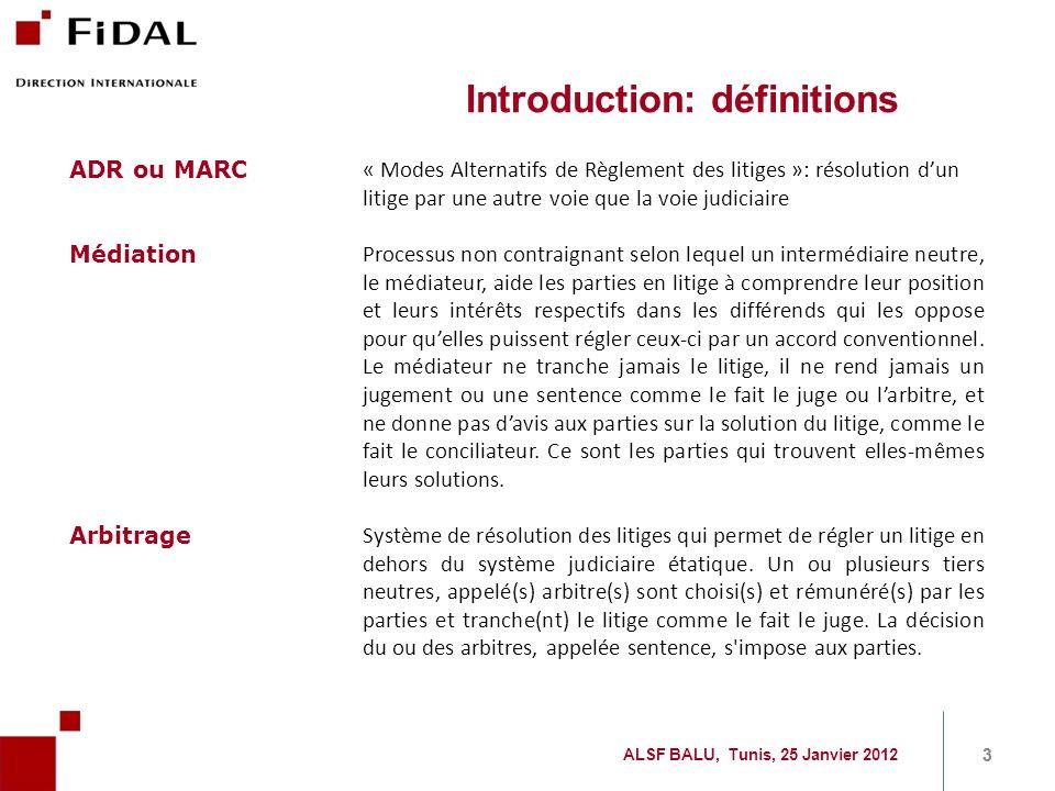 Introduction: définitions ADR ou MARC « Modes Alternatifs de Règlement des litiges »: résolution dun litige par une autre voie que la voie judiciaire