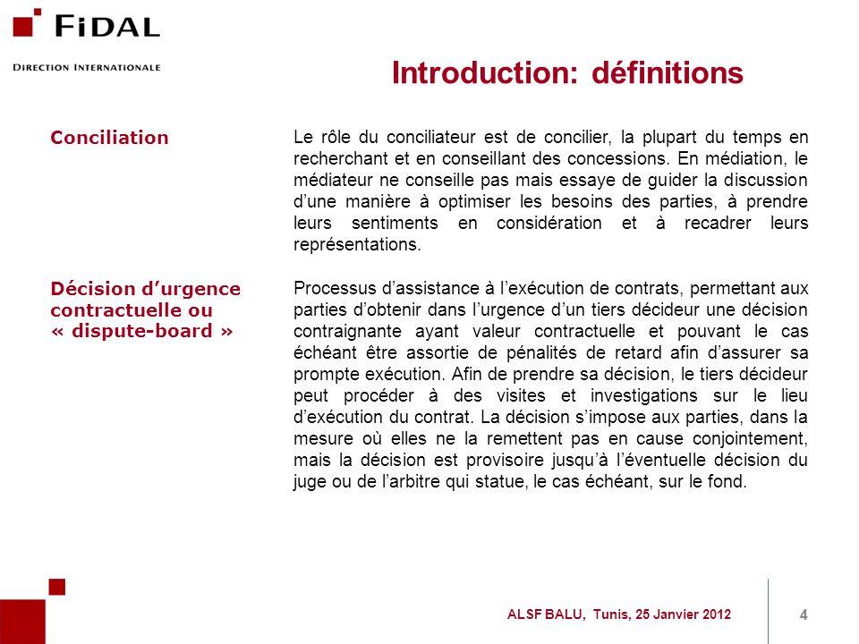Sommaire Introduction et définitions Etude AAA/FIDAL Anticipation contractuelle des litiges Comment développer la connaissance et la pratique de ces outils 5 5 ALSF BALU, Tunis, 25 Janvier 2012
