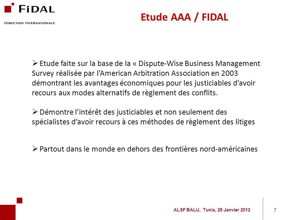 Etude AAA / FIDAL 7 7 ALSF BALU, Tunis, 25 Janvier 2012 Etude faite sur la base de la « Dispute-Wise Business Management Survey réalisée par lAmerican