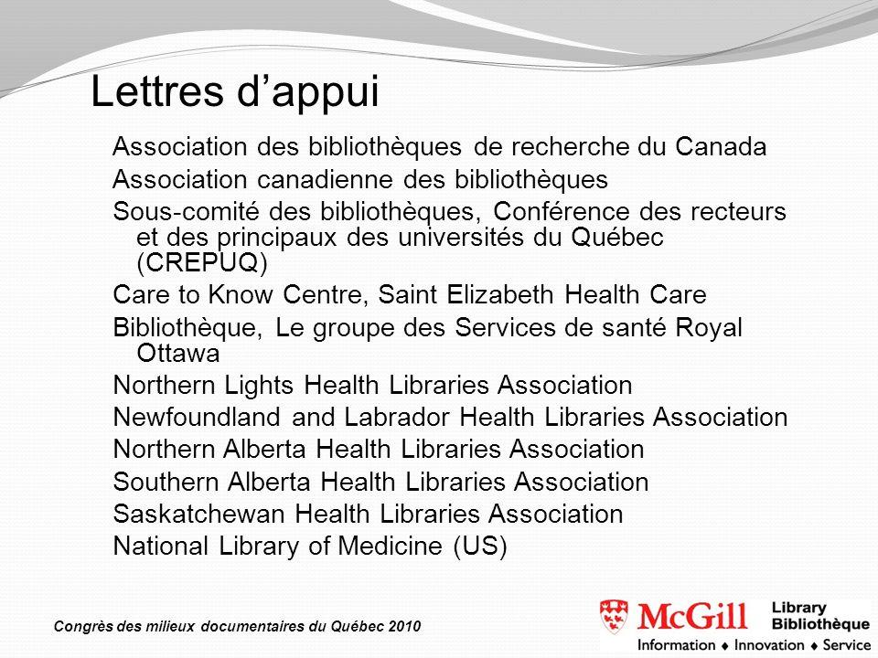 Congrès des milieux documentaires du Québec 2010 Association des bibliothèques de recherche du Canada Association canadienne des bibliothèques Sous-co