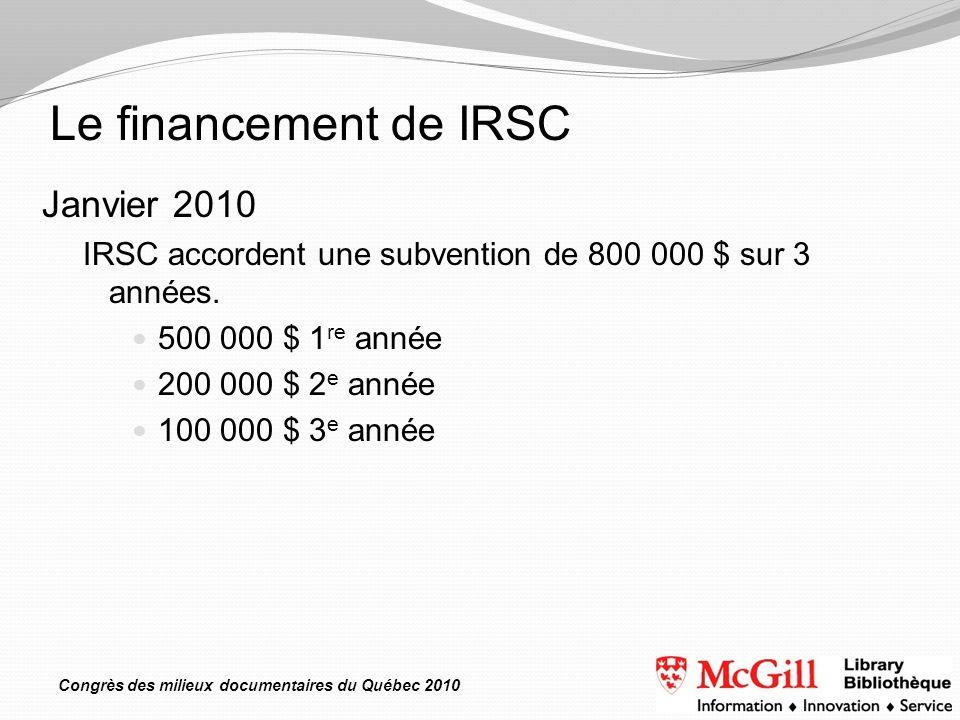 Congrès des milieux documentaires du Québec 2010 Janvier 2010 IRSC accordent une subvention de 800 000 $ sur 3 années. 500 000 $ 1 re année 200 000 $