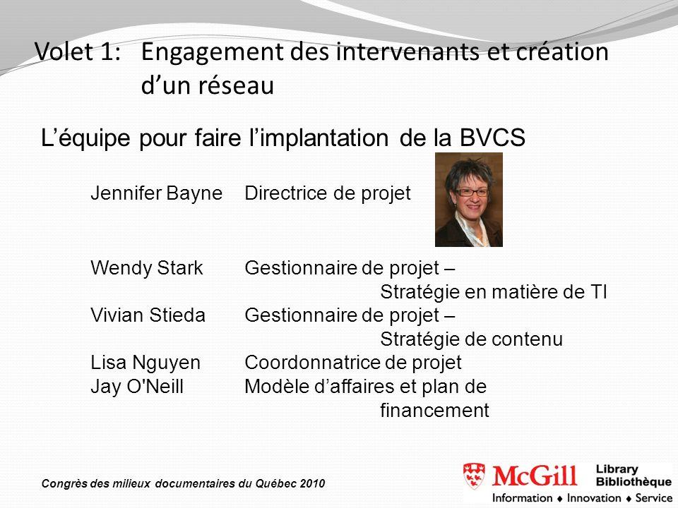 Congrès des milieux documentaires du Québec 2010 Volet 1: Engagement des intervenants et création dun réseau Léquipe pour faire limplantation de la BV