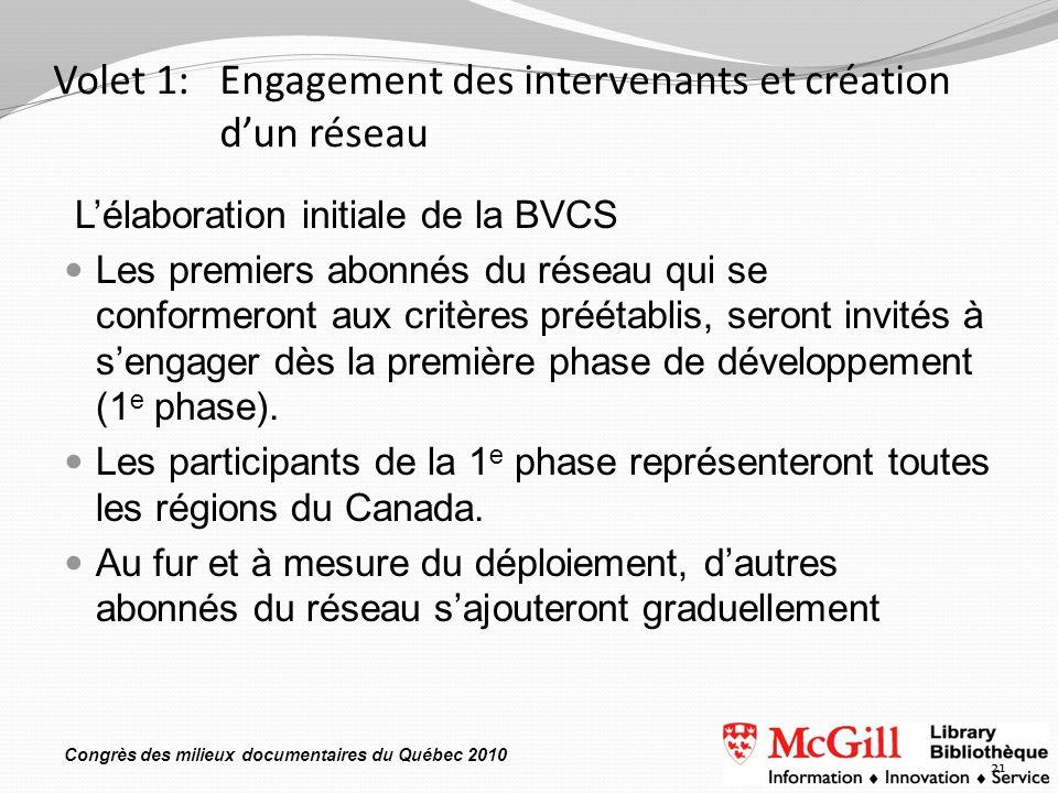 Congrès des milieux documentaires du Québec 2010 Volet 1: Engagement des intervenants et création dun réseau Lélaboration initiale de la BVCS Les premiers abonnés du réseau qui se conformeront aux critères préétablis, seront invités à sengager dès la première phase de développement (1 e phase).