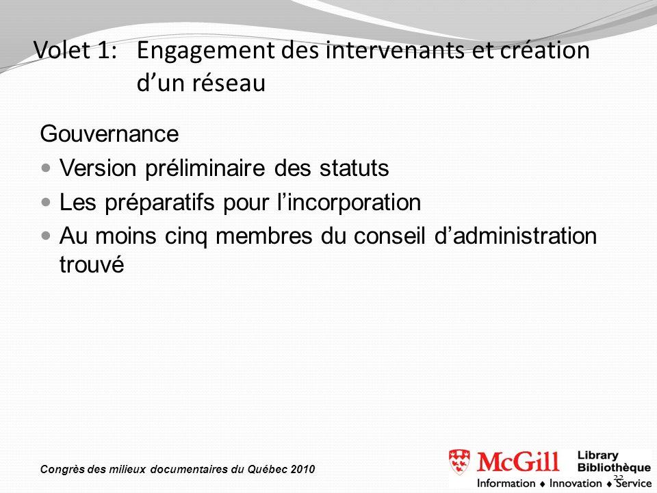 Congrès des milieux documentaires du Québec 2010 Volet 1: Engagement des intervenants et création dun réseau Gouvernance Version préliminaire des stat