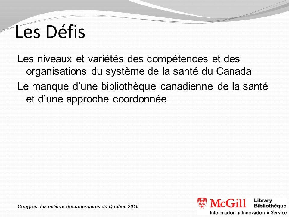 Congrès des milieux documentaires du Québec 2010 Les Défis Les niveaux et variétés des compétences et des organisations du système de la santé du Cana