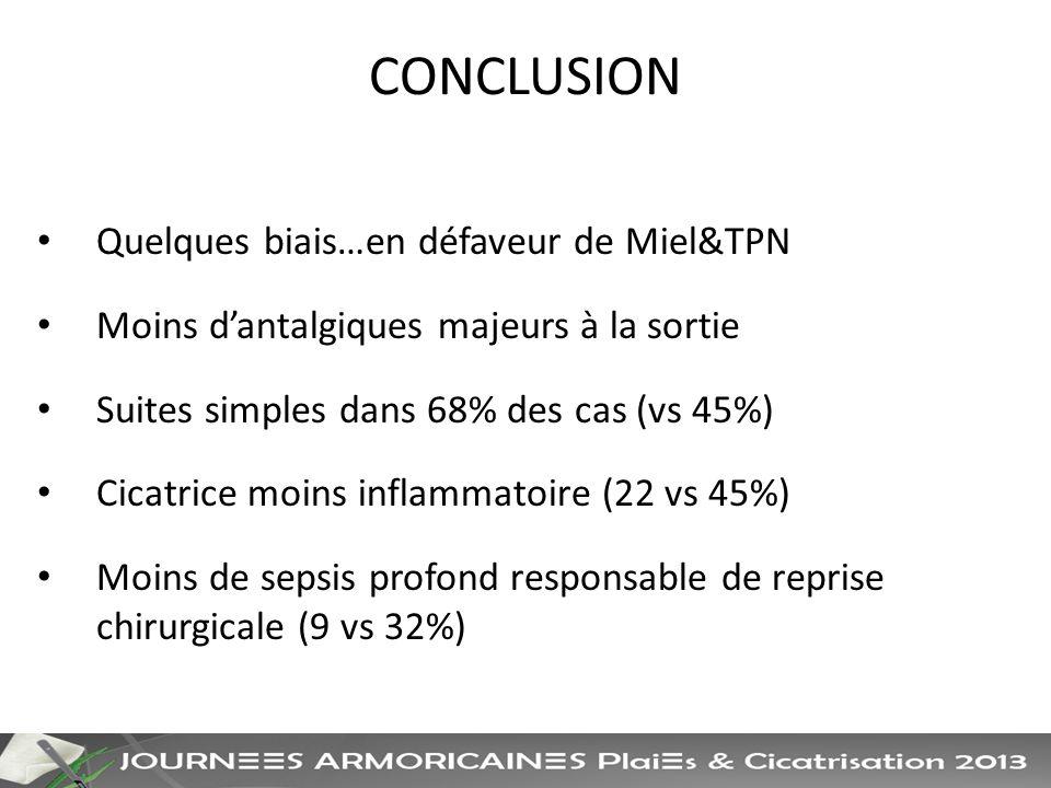 CONCLUSION Quelques biais…en défaveur de Miel&TPN Moins dantalgiques majeurs à la sortie Suites simples dans 68% des cas (vs 45%) Cicatrice moins inflammatoire (22 vs 45%) Moins de sepsis profond responsable de reprise chirurgicale (9 vs 32%)