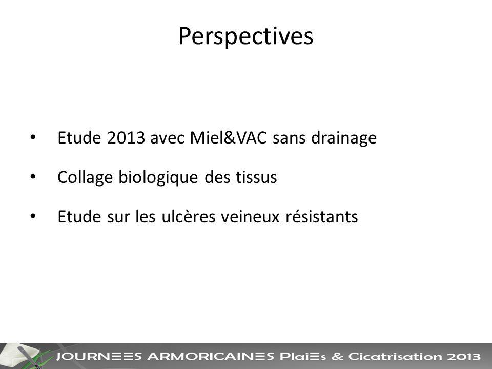 Perspectives Etude 2013 avec Miel&VAC sans drainage Collage biologique des tissus Etude sur les ulcères veineux résistants