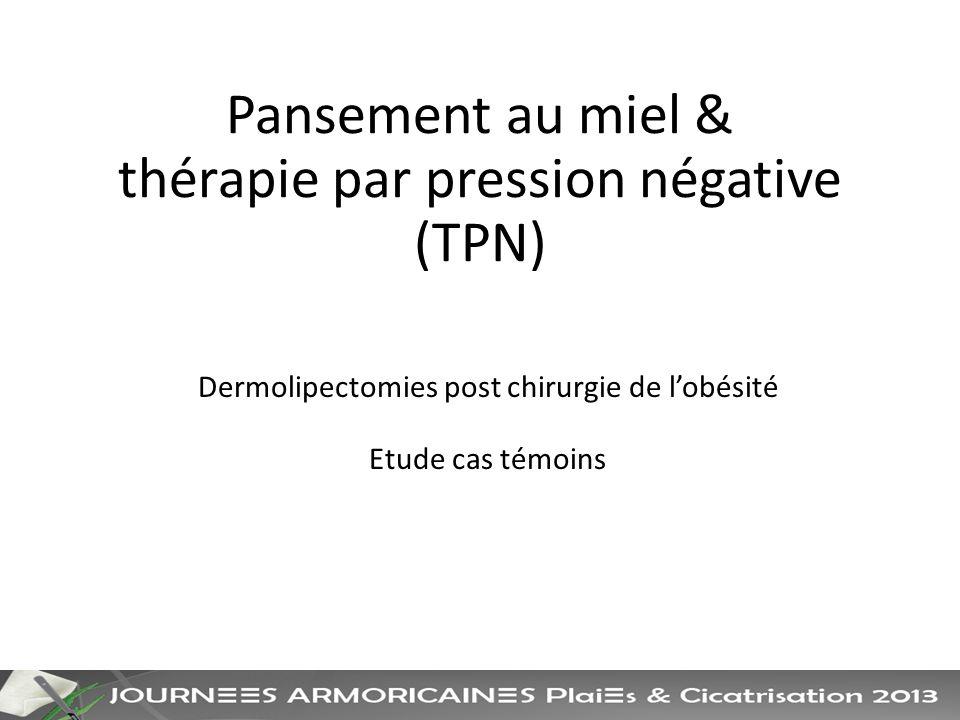 Pansement au miel & thérapie par pression négative (TPN) Dermolipectomies post chirurgie de lobésité Etude cas témoins