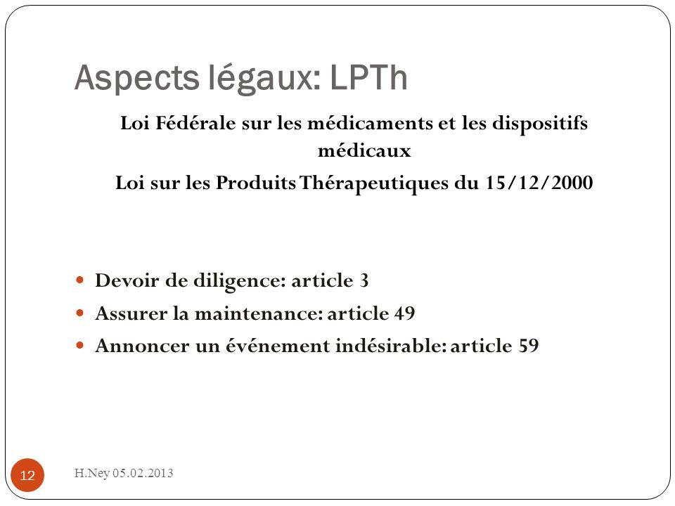 Aspects légaux: LPTh H.Ney 05.02.2013 12 Loi Fédérale sur les médicaments et les dispositifs médicaux Loi sur les Produits Thérapeutiques du 15/12/200