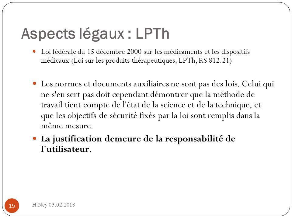 Aspects légaux : LPTh H.Ney 05.02.2013 15 Loi fédérale du 15 décembre 2000 sur les médicaments et les dispositifs médicaux (Loi sur les produits thérapeutiques, LPTh, RS 812.21) Les normes et documents auxiliaires ne sont pas des lois.