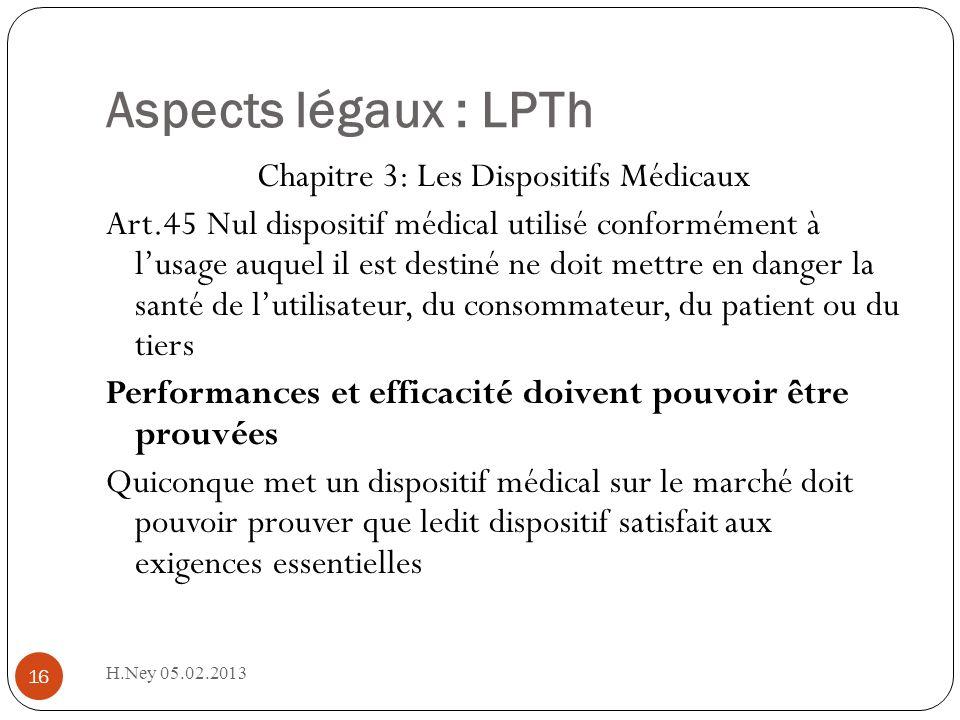 Aspects légaux : LPTh H.Ney 05.02.2013 16 Chapitre 3: Les Dispositifs Médicaux Art.45 Nul dispositif médical utilisé conformément à lusage auquel il e