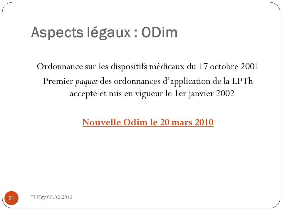 Aspects légaux : ODim H.Ney 05.02.2013 21 Ordonnance sur les dispositifs médicaux du 17 octobre 2001 Premier paquet des ordonnances dapplication de la LPTh accepté et mis en vigueur le 1er janvier 2002 Nouvelle Odim le 20 mars 2010