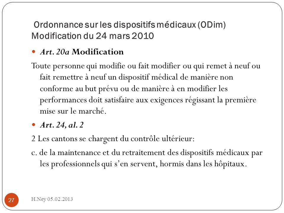 Ordonnance sur les dispositifs médicaux (ODim) Modification du 24 mars 2010 H.Ney 05.02.2013 27 Art. 20a Modification Toute personne qui modifie ou fa