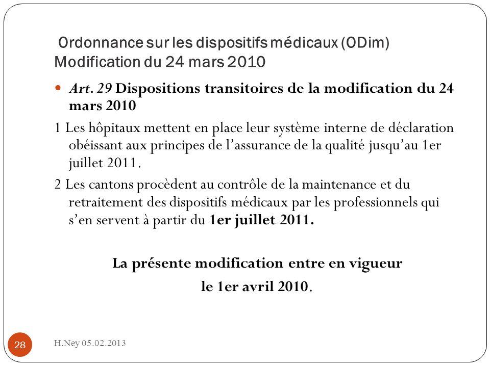 Ordonnance sur les dispositifs médicaux (ODim) Modification du 24 mars 2010 H.Ney 05.02.2013 28 Art. 29 Dispositions transitoires de la modification d