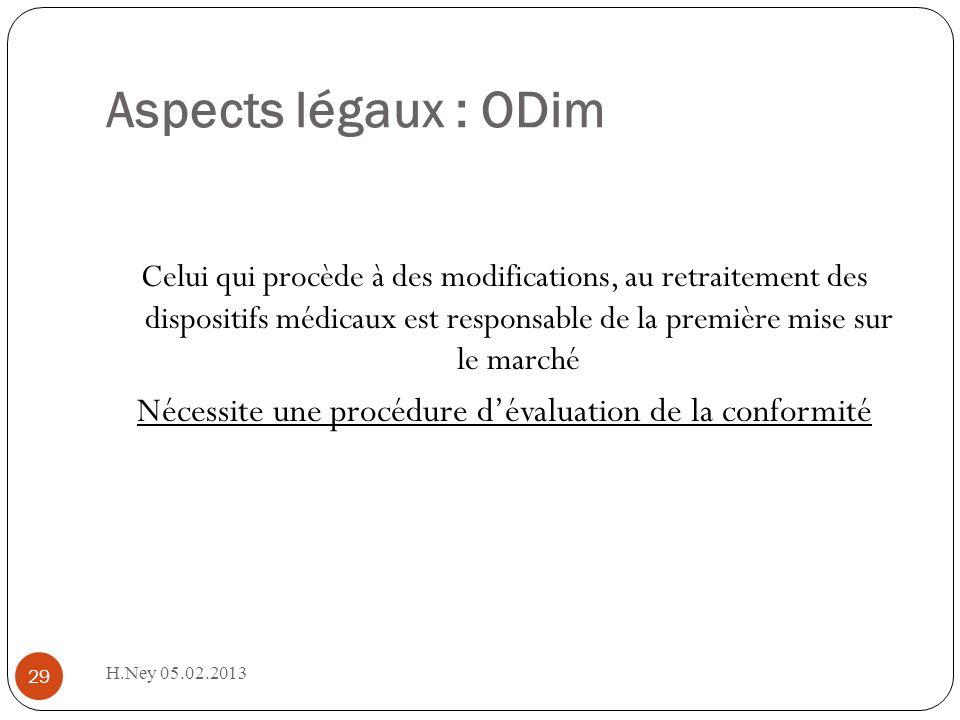 Aspects légaux : ODim H.Ney 05.02.2013 29 Celui qui procède à des modifications, au retraitement des dispositifs médicaux est responsable de la première mise sur le marché Nécessite une procédure dévaluation de la conformité