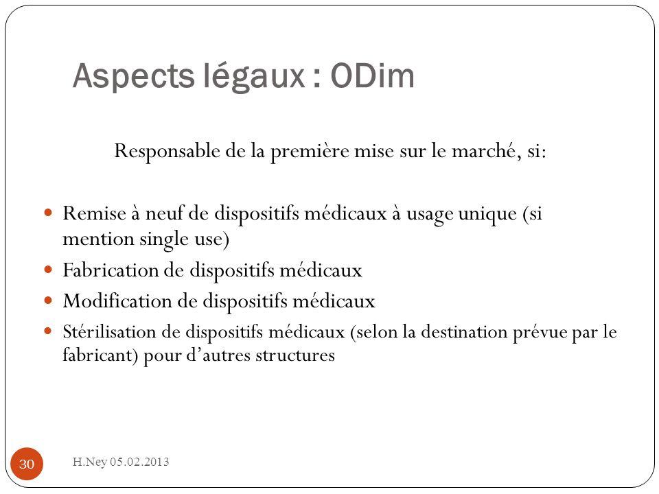 Aspects légaux : ODim H.Ney 05.02.2013 30 Responsable de la première mise sur le marché, si: Remise à neuf de dispositifs médicaux à usage unique (si