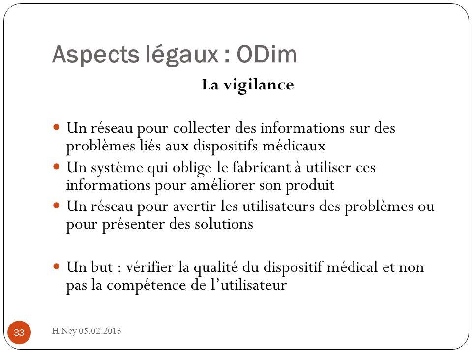 Aspects légaux : ODim H.Ney 05.02.2013 33 La vigilance Un réseau pour collecter des informations sur des problèmes liés aux dispositifs médicaux Un sy
