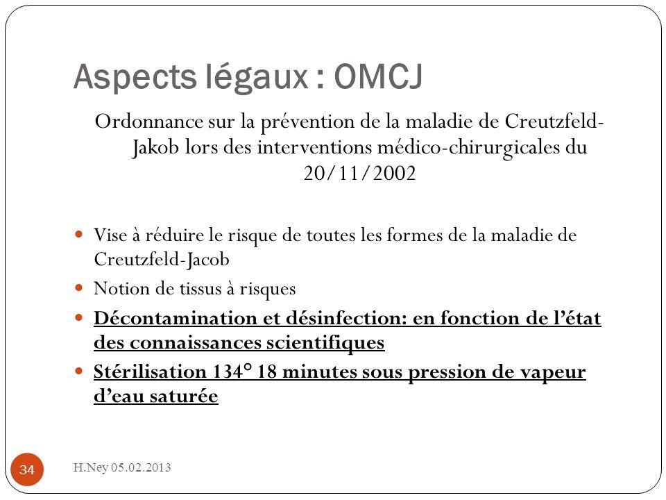 Aspects légaux : OMCJ H.Ney 05.02.2013 34 Ordonnance sur la prévention de la maladie de Creutzfeld- Jakob lors des interventions médico-chirurgicales
