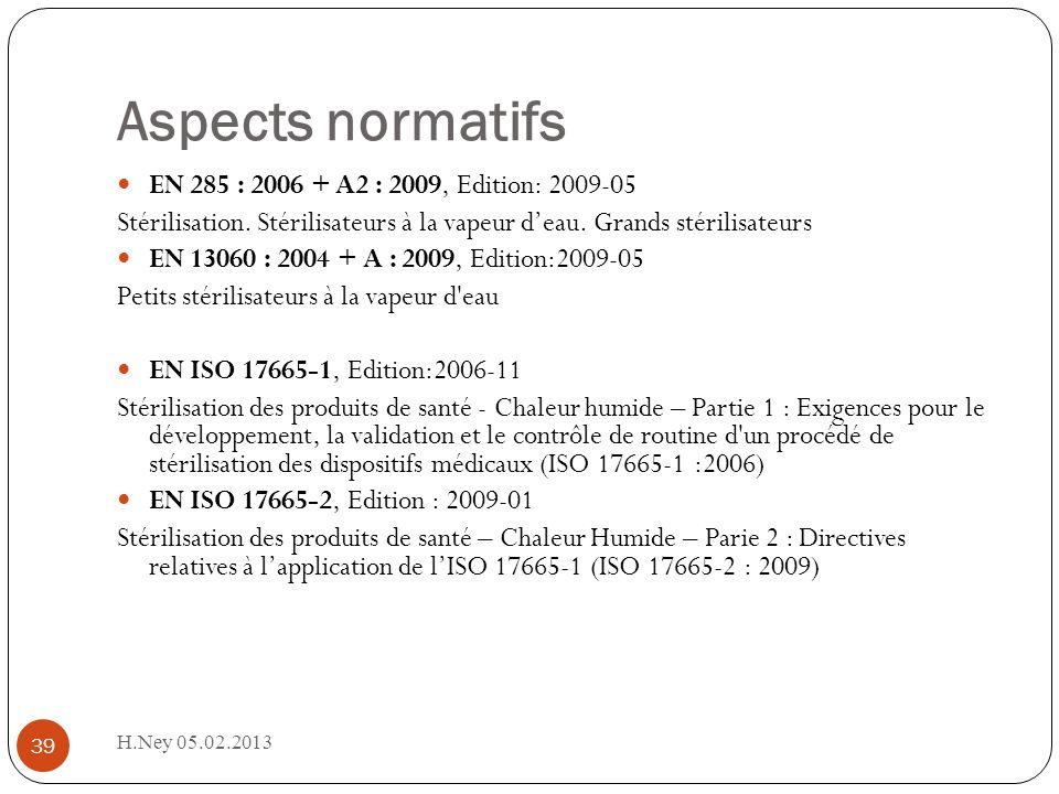 Aspects normatifs H.Ney 05.02.2013 39 EN 285 : 2006 + A2 : 2009, Edition: 2009-05 Stérilisation. Stérilisateurs à la vapeur deau. Grands stérilisateur