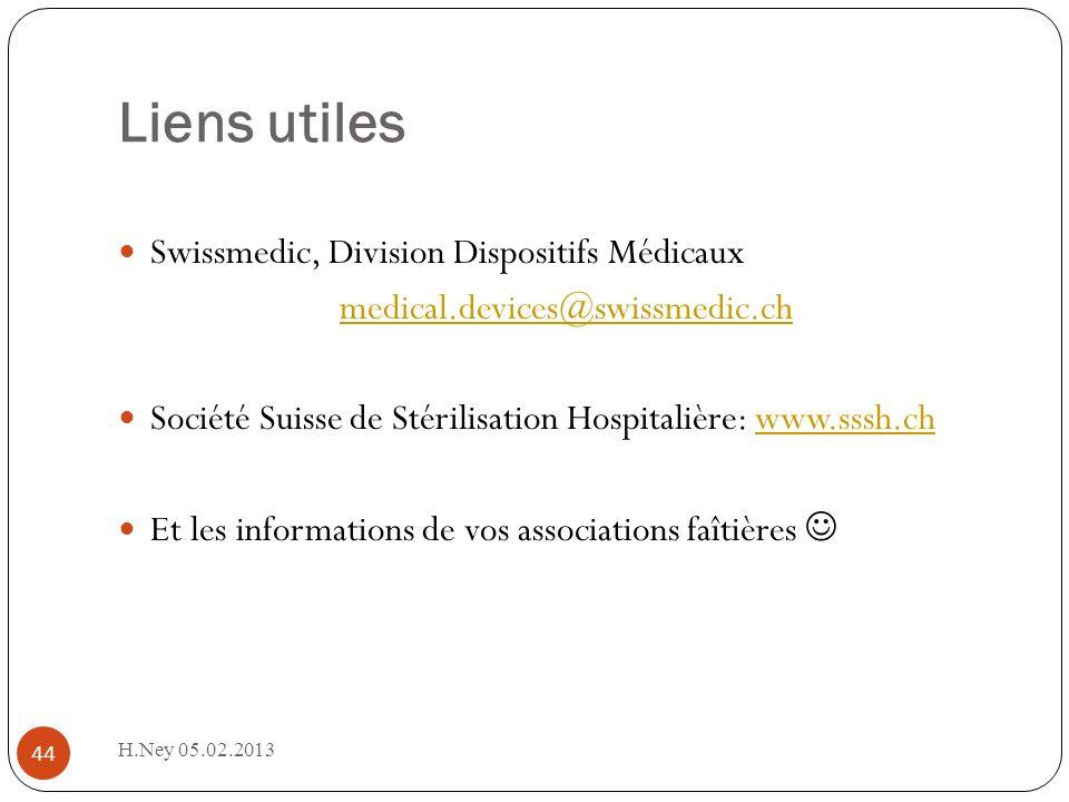 Liens utiles H.Ney 05.02.2013 44 Swissmedic, Division Dispositifs Médicaux medical.devices@swissmedic.ch Société Suisse de Stérilisation Hospitalière: