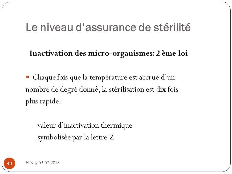 Le niveau dassurance de stérilité H.Ney 05.02.2013 49 Inactivation des micro-organismes: 2 ème loi Chaque fois que la température est accrue dun nombre de degré donné, la stérilisation est dix fois plus rapide: – valeur dinactivation thermique – symbolisée par la lettre Z