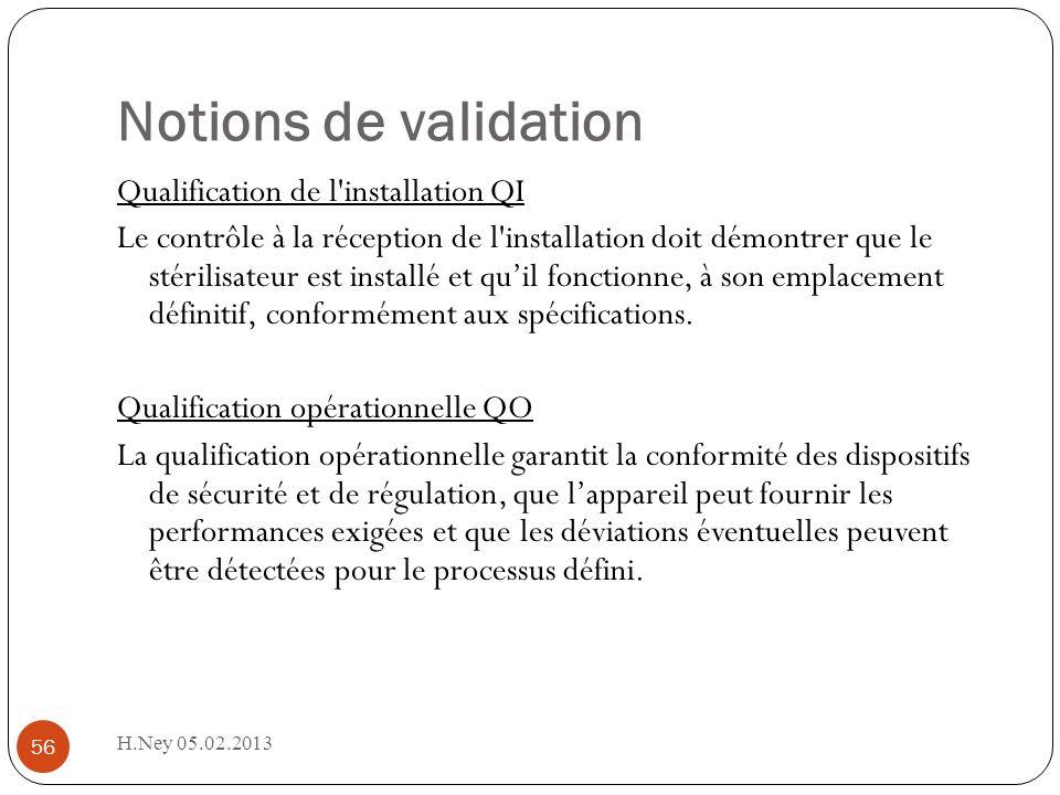 H.Ney 05.02.2013 56 Notions de validation Qualification de l installation QI Le contrôle à la réception de l installation doit démontrer que le stérilisateur est installé et quil fonctionne, à son emplacement définitif, conformément aux spécifications.