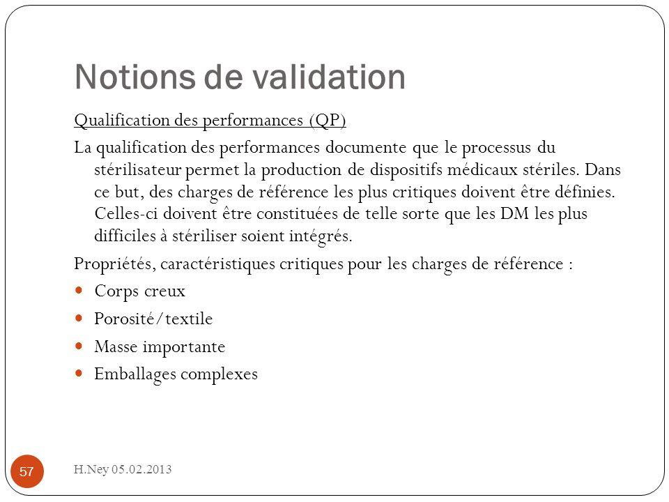 H.Ney 05.02.2013 57 Notions de validation Qualification des performances (QP) La qualification des performances documente que le processus du stérilisateur permet la production de dispositifs médicaux stériles.