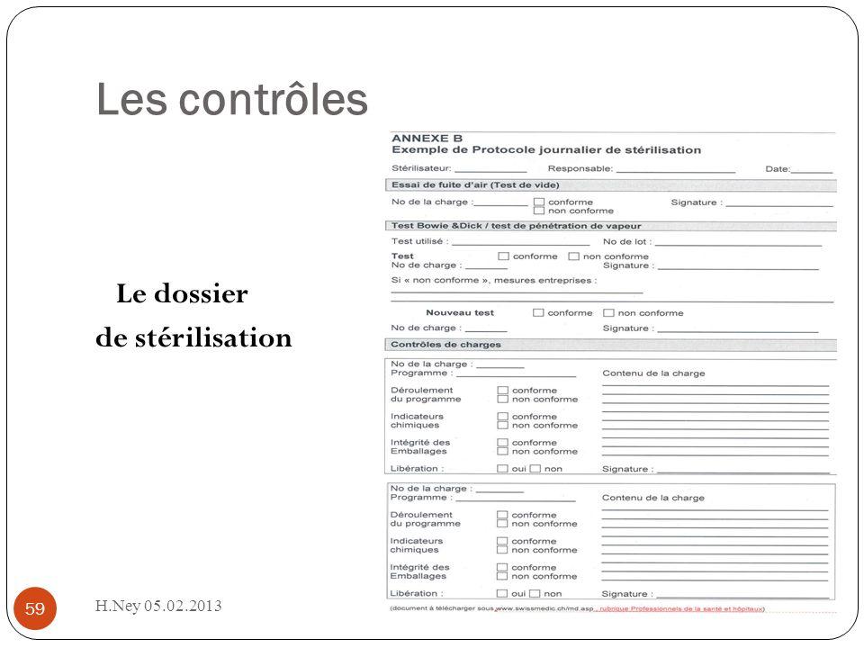 H.Ney 05.02.2013 59 Les contrôles Le dossier de stérilisation