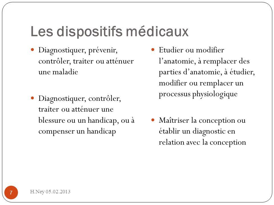 Les dispositifs médicaux H.Ney 05.02.2013 7 Diagnostiquer, prévenir, contrôler, traiter ou atténuer une maladie Diagnostiquer, contrôler, traiter ou a