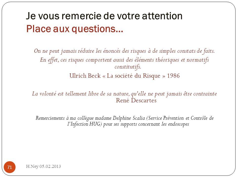 Je vous remercie de votre attention Place aux questions… H.Ney 05.02.2013 71 On ne peut jamais réduire les énoncés des risques à de simples constats de faits.