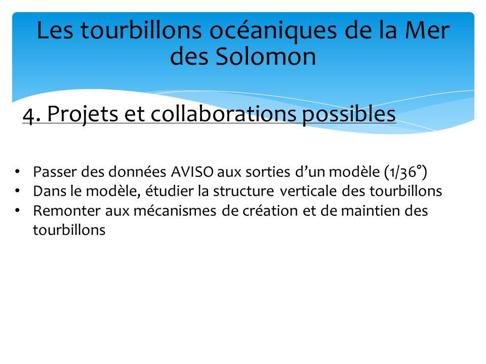 Les tourbillons océaniques de la Mer des Solomon 4. Projets et collaborations possibles Passer des données AVISO aux sorties dun modèle (1/36°) Dans l
