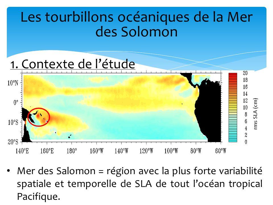 1. Contexte de létude Mer des Salomon = région avec la plus forte variabilité spatiale et temporelle de SLA de tout locéan tropical Pacifique. rms SLA