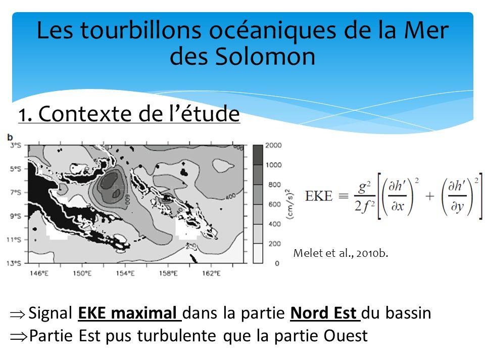 Les tourbillons océaniques de la Mer des Solomon 1. Contexte de létude Melet et al., 2010b. Signal EKE maximal dans la partie Nord Est du bassin Parti