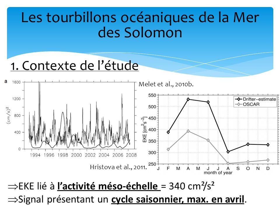 Les tourbillons océaniques de la Mer des Solomon Faire le lien entre ce signal EKE haute fréquence et lactivité tourbillonnaire Pour cela, on a besoin de décrire (pour la 1 ère fois) les caractéristiques des tourbillons de manière statistique.