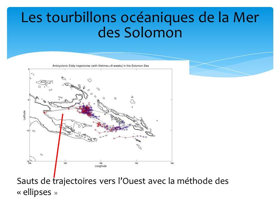 Interpolation des «trous » AVISO (Iles Salomon notamment) pour une meilleure détection près de ces régions Sans interpolation Avec interpolation Les tourbillons océaniques de la Mer des Solomon 2.