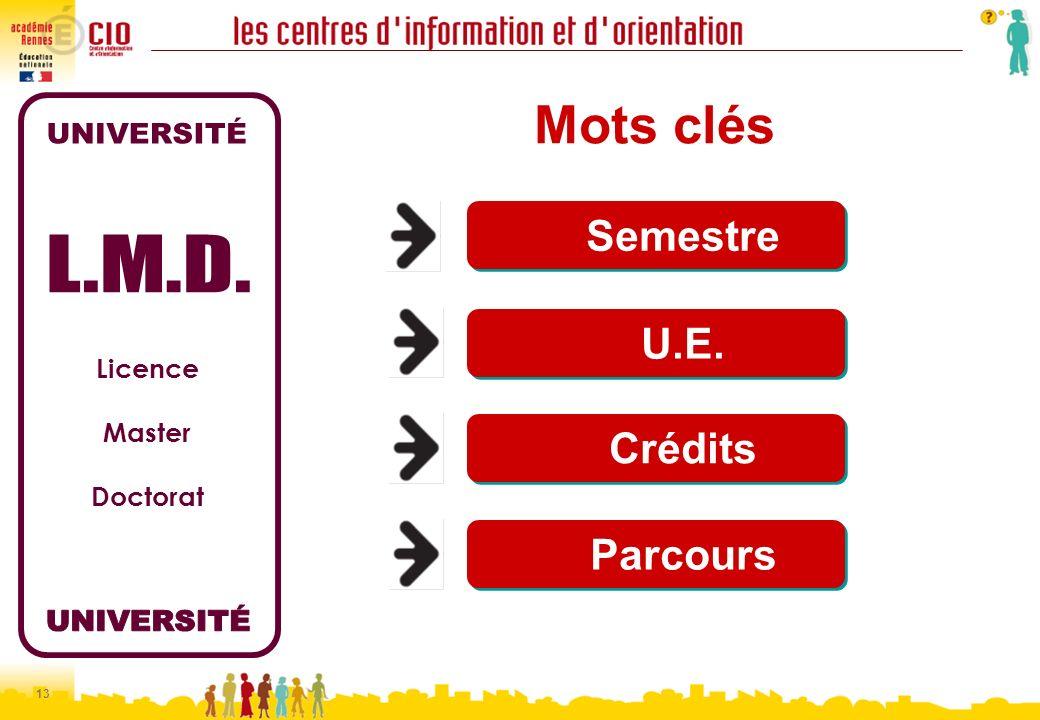 13 Licence Master Doctorat Mots clés Semestre U.E. Crédits Parcours