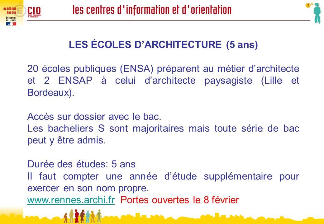 LES ÉCOLES DARCHITECTURE (5 ans) 20 écoles publiques (ENSA) préparent au métier darchitecte et 2 ENSAP à celui darchitecte paysagiste (Lille et Bordea