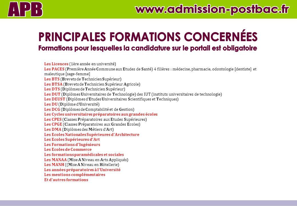 Les Licences (1ère année en université) Les PACES (Première Année Commune aux Etudes de Santé) 4 filières : médecine, pharmacie, odontologie [dentiste