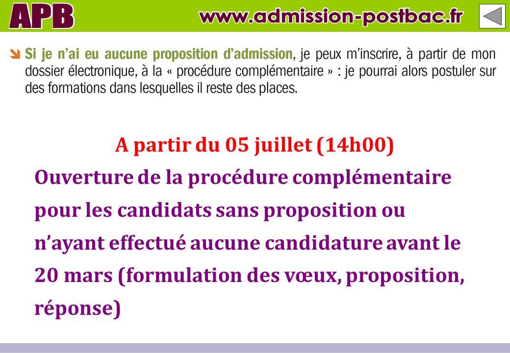 A partir du 05 juillet (14h00) Ouverture de la procédure complémentaire pour les candidats sans proposition ou nayant effectué aucune candidature avan